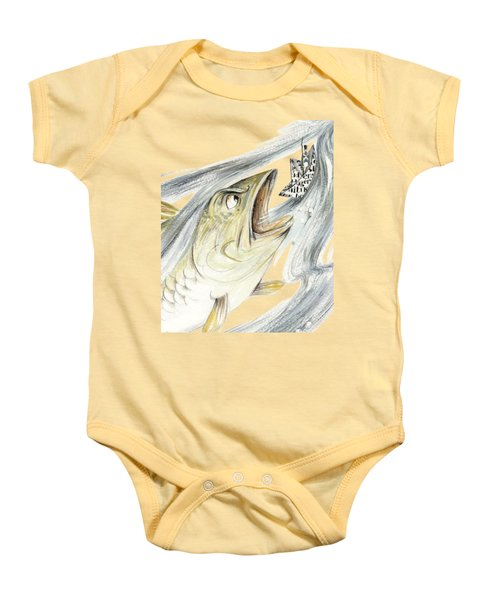 Angry Fish Ready To Swallow Tin Soldier's Paper Boat - Horizontal - Fairy Tale Illustration Fragment Baby Onesie by Elena Abdulaeva