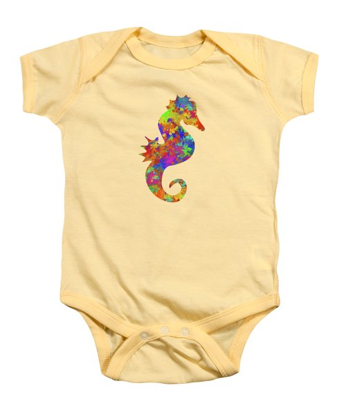 Seahorse Watercolor Art Baby Onesie by Christina Rollo