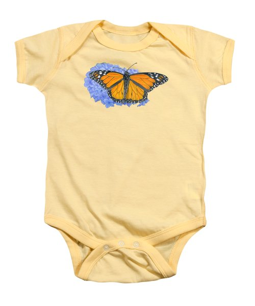 Monarch Butterfly And Hydrangea- Transparent Background Baby Onesie by Sarah Batalka