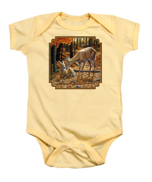 Whitetail Deer - Autumn Innocence 2 Baby Onesie by Crista Forest