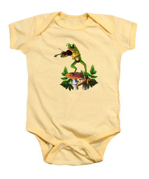 Humorous Tree Frog Playing A Fiddle Baby Onesie by Regina Femrite