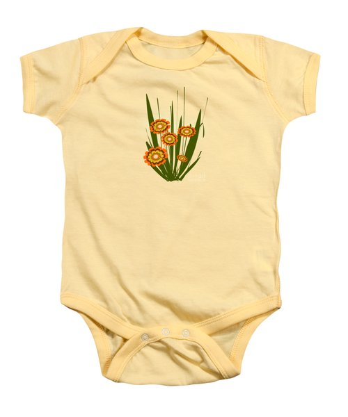 Orange Flowers Baby Onesie by Anastasiya Malakhova