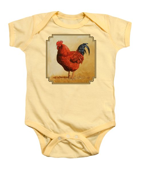 Rhode Island Red Rooster Baby Onesie by Crista Forest