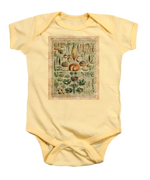 Autumn Fall Vegetables Kiche Harvest Thanksgiving Dictionary Art Vintage Cottage Chic Baby Onesie by Jacob Kuch