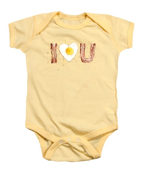Bacon And Egg I Heart You Watercolor Baby Onesie by Olga Shvartsur
