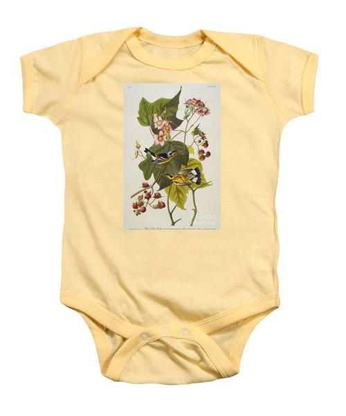 Black And Yellow Warbler Baby Onesie by John James Audubon