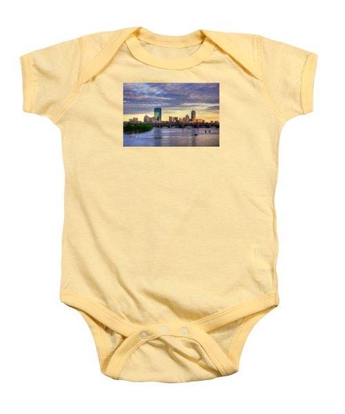 Boston Skyline Sunset Over Back Bay Baby Onesie by Joann Vitali