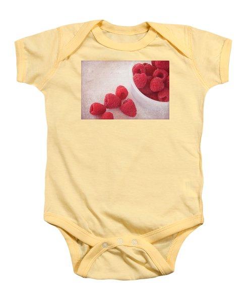 Bowl Of Red Raspberries Baby Onesie by Cindi Ressler