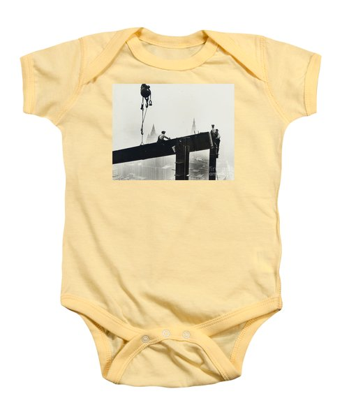 Building The Empire State Building Baby Onesie by LW Hine