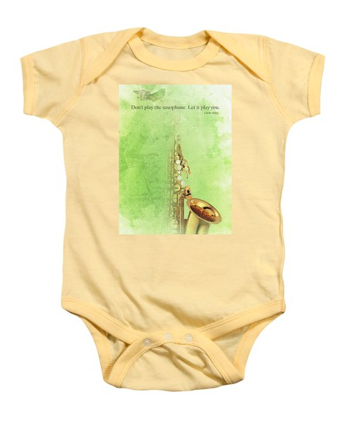 Charlie Parker Saxophone Green Vintage Poster And Quote, Gift For Musicians Baby Onesie by Pablo Franchi