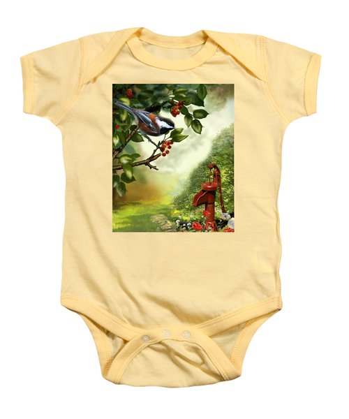 Chickadee Visiting The Water Pump Baby Onesie by Regina Femrite