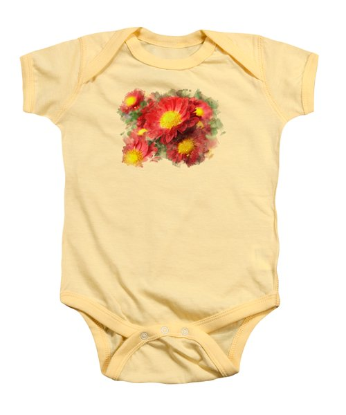 Chrysanthemum Watercolor Art Baby Onesie by Christina Rollo