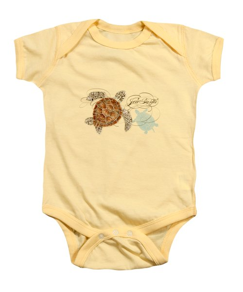Coastal Waterways - Green Sea Turtle Rectangle 2 Baby Onesie by Audrey Jeanne Roberts