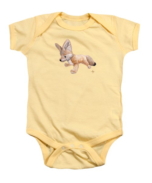 Cuddly Snow Fox Baby Onesie by Angeles M Pomata