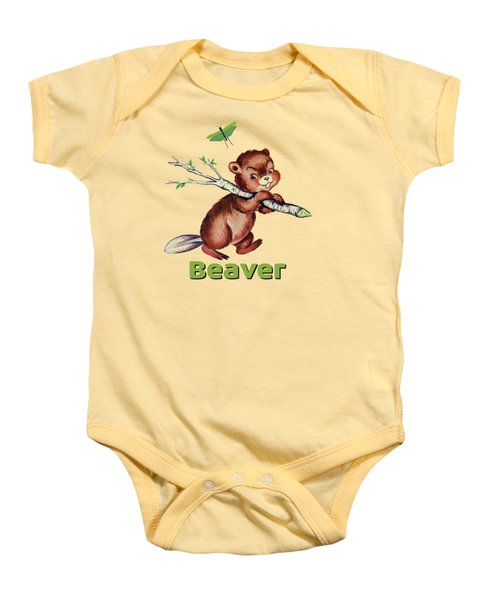 Cute Baby Beaver Pattern Baby Onesie by Tina Lavoie