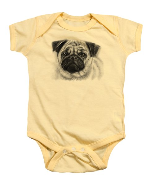 Cute Pug Baby Onesie by Olga Shvartsur