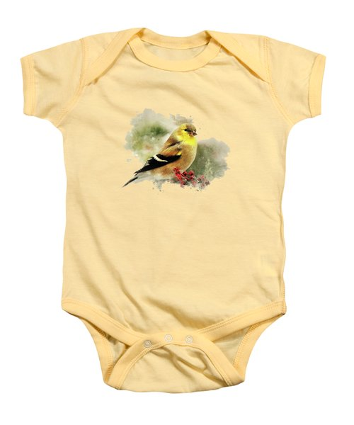 Goldfinch Watercolor Art Baby Onesie by Christina Rollo
