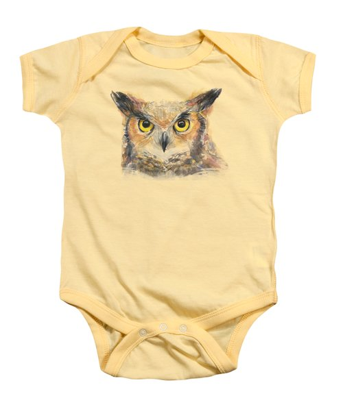 Great Horned Owl Watercolor Baby Onesie by Olga Shvartsur