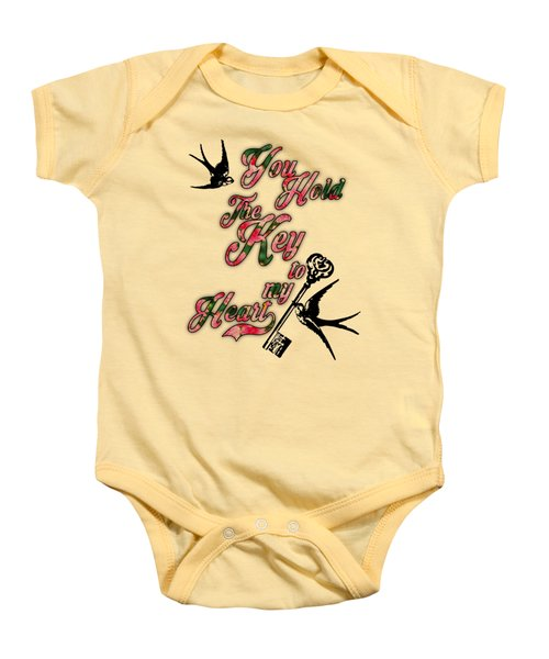 Key To My Heart Dictionary Art Baby Onesie by Jacob Kuch