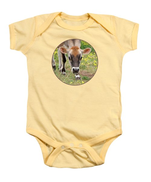 Look Into My Eyes - Jersey Cow - Square Baby Onesie by Gill Billington