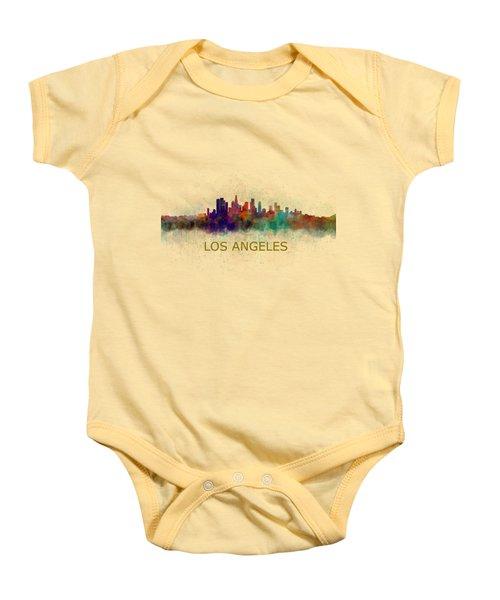 Los Angeles City Skyline Hq V4 Baby Onesie by HQ Photo