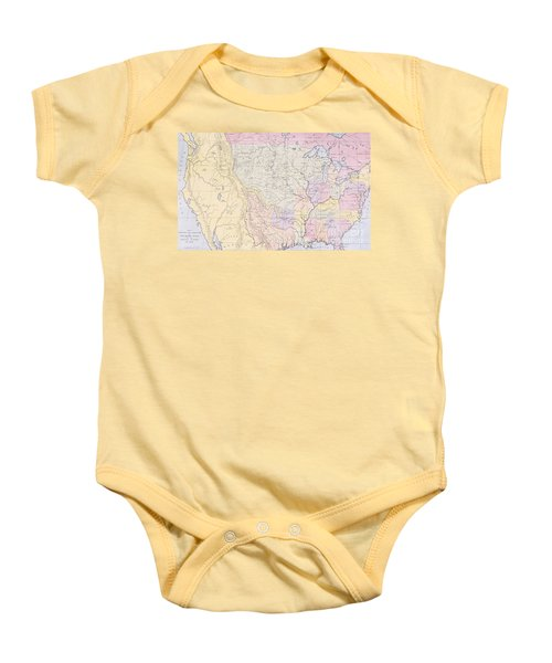 Map Showing The Localities Of The Indian Tribes Of The Us In 1833 Baby Onesie by Thomas L McKenney and James Hall
