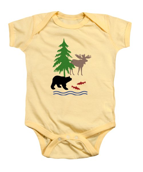 Moose And Bear Pattern Art Baby Onesie by Christina Rollo