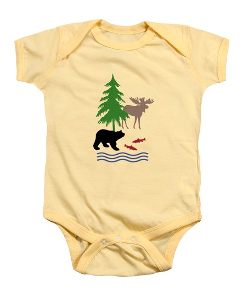 Moose And Bear Pattern Baby Onesie by Christina Rollo