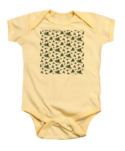 Mountain Lodge Cabin In The Forest - Home Decor Pine Cones Baby Onesie by Audrey Jeanne Roberts