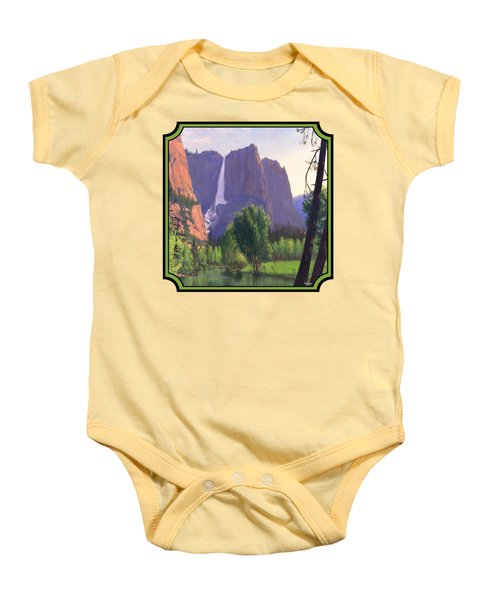 Mountains Waterfall Stream Western Landscape - Square Format Baby Onesie by Walt Curlee