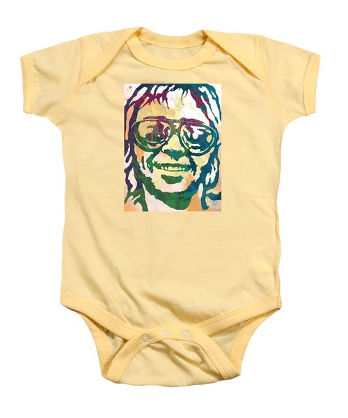 Neil Young Pop Stylised Art Poster Baby Onesie by Kim Wang