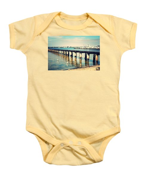 Old Fort Myers Pier With Ibises Baby Onesie by Carol Groenen