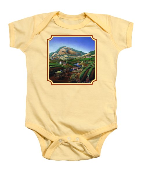 Old Wine Country Landscape Painting - Worker Delivering Grape To The Winery -square Format Image Baby Onesie by Walt Curlee
