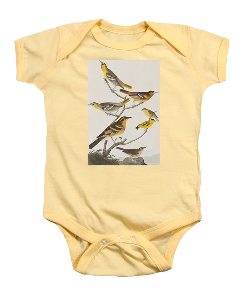 Orioles Thrushes And Goldfinches Baby Onesie by John James Audubon