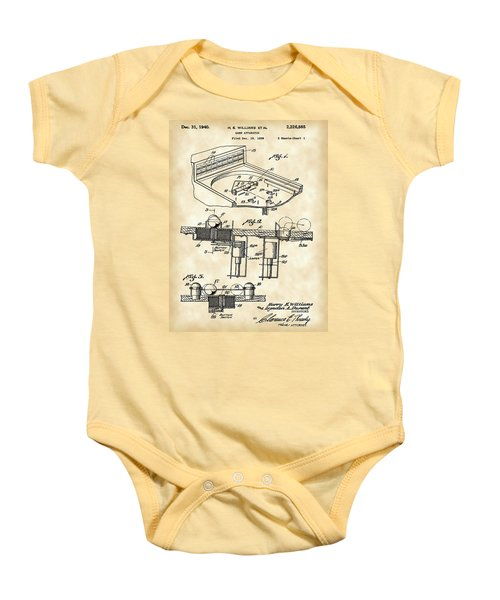 Pinball Machine Patent 1939 - Vintage Baby Onesie by Stephen Younts