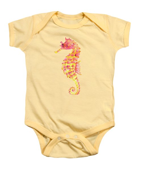 Pink Yellow Seahorse - Square Baby Onesie by Amy Kirkpatrick