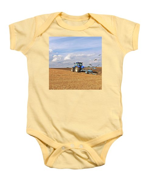 Ploughing After The Harvest - Square Baby Onesie by Gill Billington