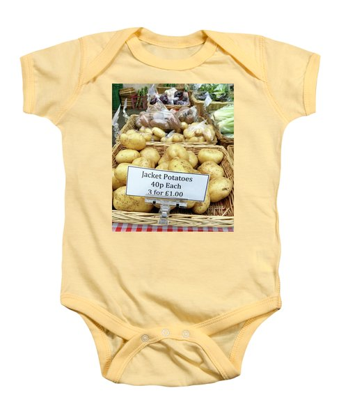 Potatoes At The Market  Baby Onesie by Tom Gowanlock