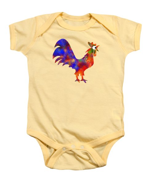 Red Rooster Art Baby Onesie by Christina Rollo