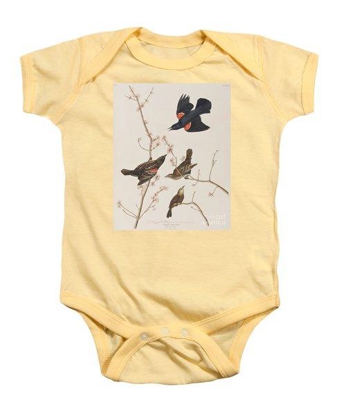 Red Winged Starling Or Marsh Blackbird Baby Onesie by John James Audubon