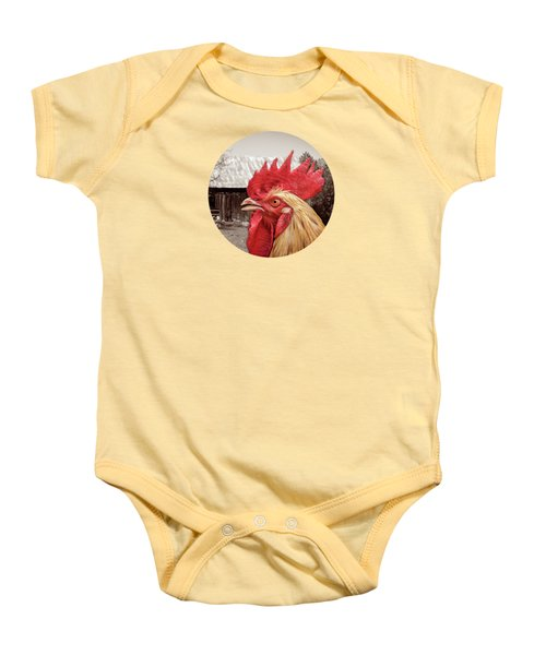 Rooster Looks At Barn Baby Onesie by Phil Perkins