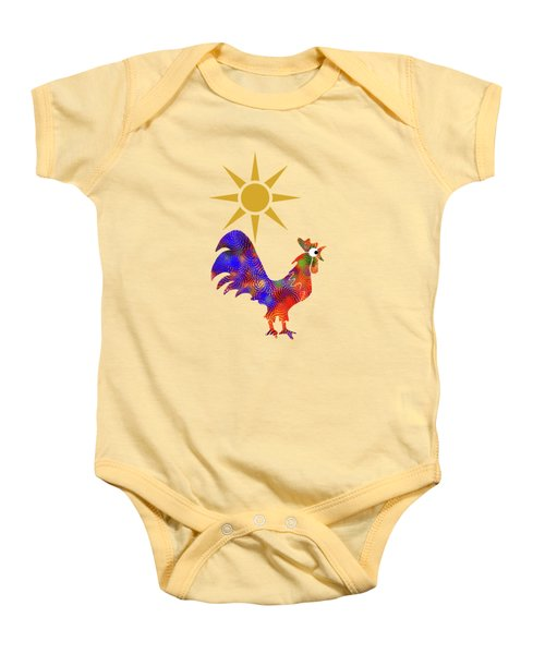 Rooster Pattern Baby Onesie by Christina Rollo