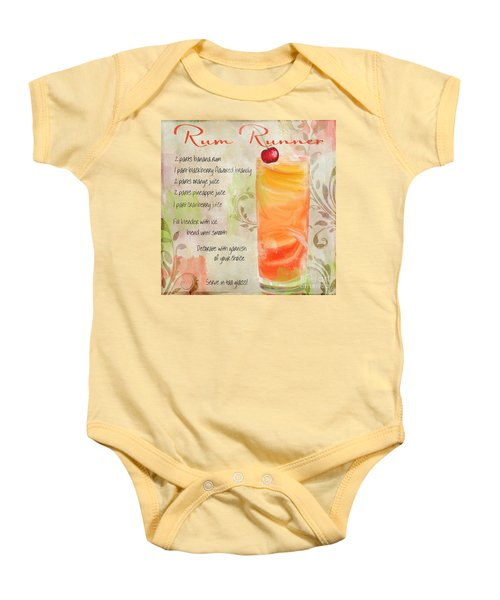 Rum Runner Mixed Cocktail Recipe Sign Baby Onesie by Mindy Sommers