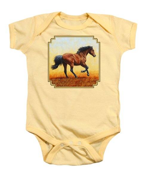 Running Horse - Evening Fire Baby Onesie by Crista Forest
