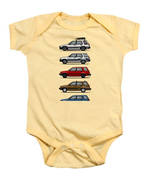 Stack Of Toyota Tercel Sr5 4wd Al25 Wagons Baby Onesie by Monkey Crisis On Mars