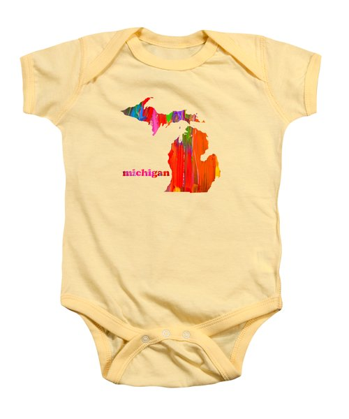 Vibrant Colorful Michigan State Map Painting Baby Onesie by Design Turnpike