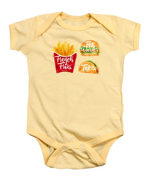 Vintage French Fries Baby Onesie by Aloke Design