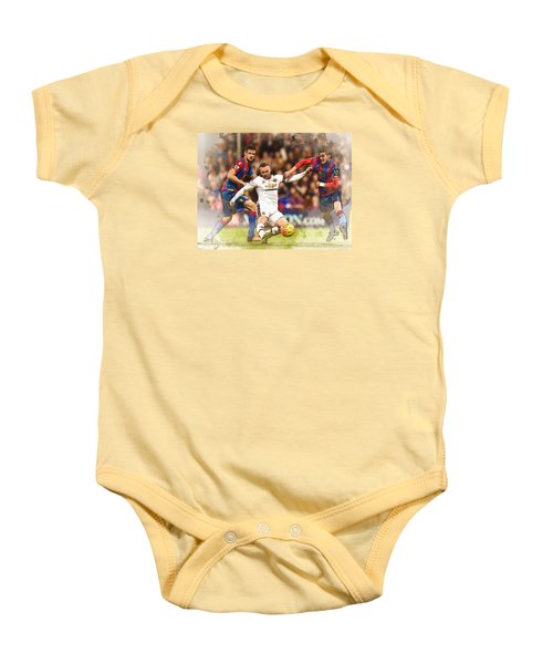 Wayne Rooney Shoots At Goal Baby Onesie by Don Kuing