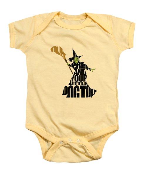 Wicked Witch Of The West Baby Onesie by Ayse Deniz