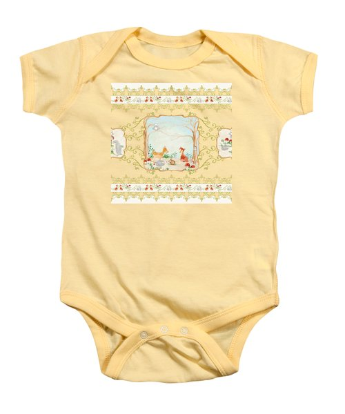 Woodland Fairy Tale - Blush Pink Forest Gathering Of Woodland Animals Baby Onesie by Audrey Jeanne Roberts